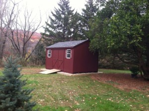 All Red Painted siding with optional stone site work and ramp.