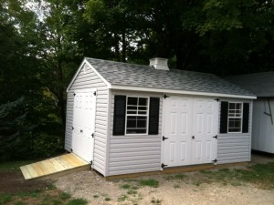 Large A-Frame with Vinyl Siding, Extra Single Door, Upgraded Windows and optional ramp.
