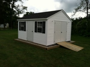 Vinyl Sided with additional entry door. optional site prep and ramp.